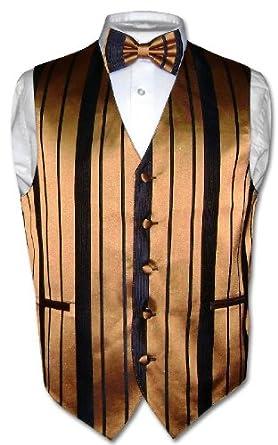 Men's Dress Vest BOWTIE Gold & Black Woven Striped BOW TIE Design sz 2XL