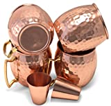 Owl Creek Handmade Moscow Mule 100% Copper Mugs Set of Four 18 oz Hammered Cups With Two Bonus 2 oz Copper Shot Glasses
