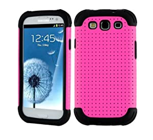 SOOPER Hot Pink Mesh Defender Heavy Duty Protective Hard Full Body Cover Case for Samsung Galaxy i9300 S3 (Hot Pink Mesh Case)