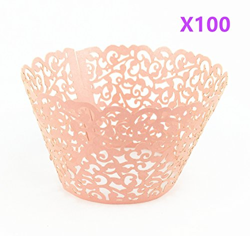 Yansanido 100 set pink Filigree Artistic Bake Little Vine Lace Laser Cut Cupcake Wrapper Cup Muffin Case Trays Collars Wrappers (100pcs pink)