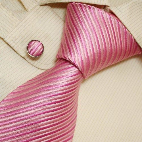 Hot Pink Striped Men Neck Ties Stripes Handmade Discount Silk Tie Cufflinks Set A1004