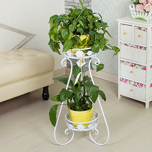 AISHN Indoor Display Rack Double Basin Classic Finial Plant Stand/Plant Stand with Finial (White) (Tall White Pedestal compare prices)