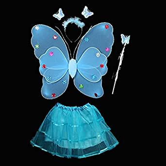 4 Pcs Wings Wand Set for Girls Dress up Party Halloween Costume Favor Toy