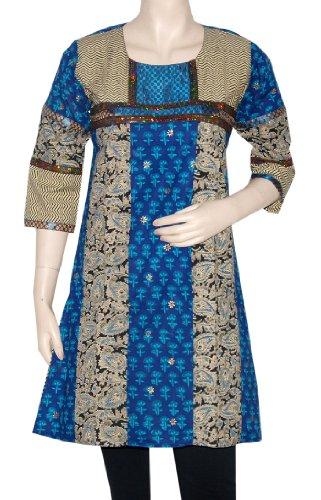 Traditional Hand Block Print Ladies Tops Kurta Blouse With Sequins & Gota Work Size XXL