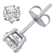 Authentic Sterling Silver .925 Cubic Zirconia Stud Earrings Set in Basket Settings, 2.00 Carat Total Total Weight, 1.00 Carat Each White Cubic Zirconia Stone. Includes Gifts Packaging At No Extra Cost!