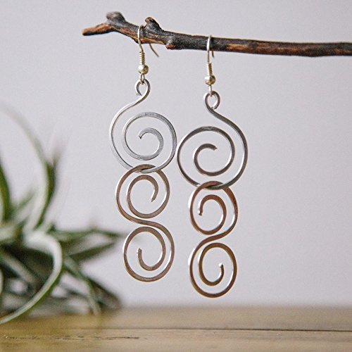 Dangly Wire Wrapped Spiral Earrings Handmade with Love in the Dominican Republic by Madres Jewelry. (Handmade Wire Jewelry compare prices)