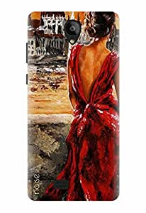 Noise Designer Printed Case / Cover for Swipe Konnect Plus / Patterns & Ethnic / Red Dress Design