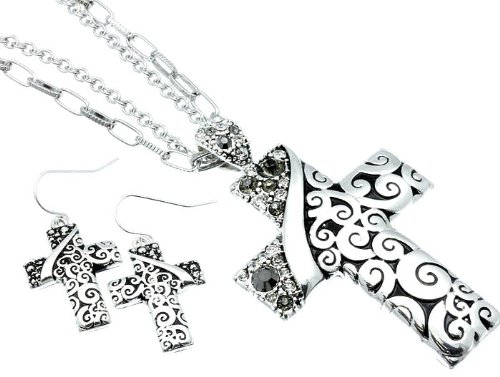 NECKLACE AND EARRING SET METAL CRYSTAL STONE GRAY Fashion Jewelry Costume Jewelry fashion accessory Beautiful Charms