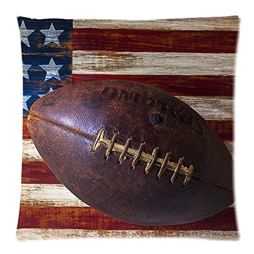 """Funny American Flag American Football Wood Texture Distressed Retro Vintage Custom Zippered Pillow Case 20""""X20""""(Two Sides) front-955749"""