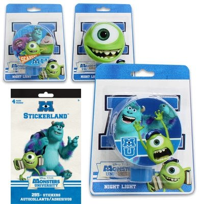 3-Piece Disney Monsters U Night Light Gift Set for Kids - 3 Monsters U Night Lights (3 Fun Designs Featuring Mike, Sully and Friends) Plus 1 Pack of Monsters Stickers - 1