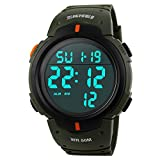 TONSHEN Mens Sports Watch Digital Multifunction Waterproof Military Watches Green