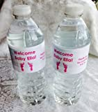 20 Personalized Footprint Themed Waterproof Water Bottle Labels/Stickers/Wrappers for Girl or Boy Baby Shower - Make Great Party Favors