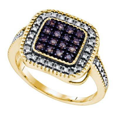 Sterling Silver 0.19 Carat (ctw) Micro Pave Ladies Brown Diamond Ring