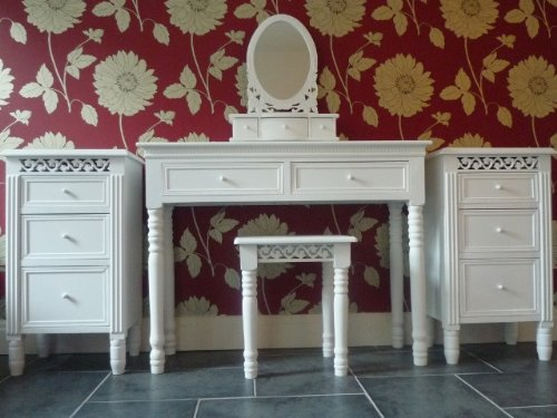 Belgravia Shabby Chic White Dressing Table, Mirror, Stool and 2 X 3 Drawer Bedside Tables