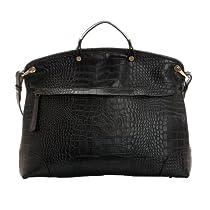 Hot Sale Fineplus Women's 100% Leather Crocodile Grain Shoulder Strap Tote Bag Black