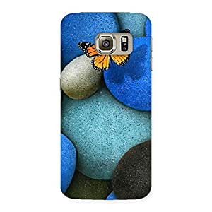 Delighted Pebbls and Butterfly Multicolor Back Case Cover for Samsung Galaxy S6 Edge