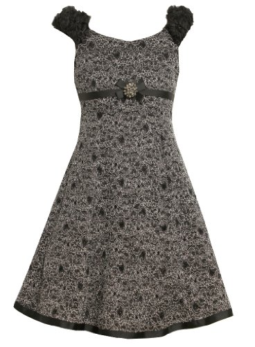 Size-8 BNJ-5402X Black Glittered Floral Fit-N-Flare Knit Dress,Bonnie Jean Girls 7-16 Special Occasion Flower Girl Party Dress