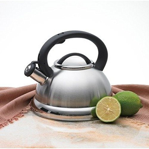 Alpine Stainless Steel Finish Encapsulated Base 18/10 Whistling Tea Kettle Pot