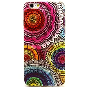 For Iphone 6 case, Let it be Free Aztec Tribal Pink Flower Clear Bumper TPU Soft Case Rubber Silicone Skin Cover for Iphone 6 4.7 Inch Screen (Not for Iphone 6 Plus)