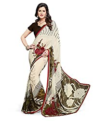 PShopee Off White Weightless Designer Poonam Chiffon Saree with Blouse Piece