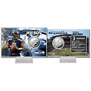 Seattle Seahawks Russell Wilson Silver Coin Card by Highland Mint