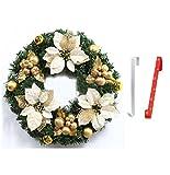 【エスネット】S-net ハンガー 付き クリスマス リース 45cm 金 銀 赤 (クリスマスゴールド)