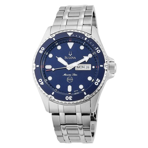 Bulova Men's Marine Star 98C62 Silver Stainless-Steel Quartz Watch with Blue Dial