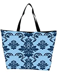 Snoogg Blue Leafy Pattern Designer Waterproof Bag Made Of High Strength Nylon