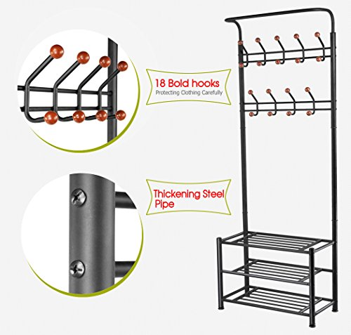 Yaheetech Metal Entryway 18 Hanger Hooks Clothes Coat Shoes Hats Bags Stand Rack Black