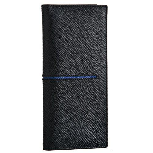 TOD'S(トッズ) 財布 メンズ カーフスキン 2つ折り長財布 ブラック×ブルー CHB7300-DOU-118X [並行輸入品]