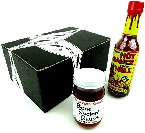 Gluten Free BBQ Seasonings 2-Flavor Variety: One 4 Oz Jar Of Bone Suckin' Sauce And One 5 Oz Bottle Of Habanero Hot Sauce From Hell In A Gift Box