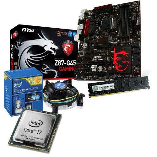 tronics24 PC Aufrüstkit   Intel Core i7 4770K Haswell 4x 3.5GHz Quad-Core   4GB High-Speed DDR3-RAM PC-1600 GSKILL   Intel HD Grafik 1.7GB   MSI Z87-G45 Gaming Mainboard mit Intel Z87 Chipset   USB3.0   Killer LAN   7.1 Audio BOOST