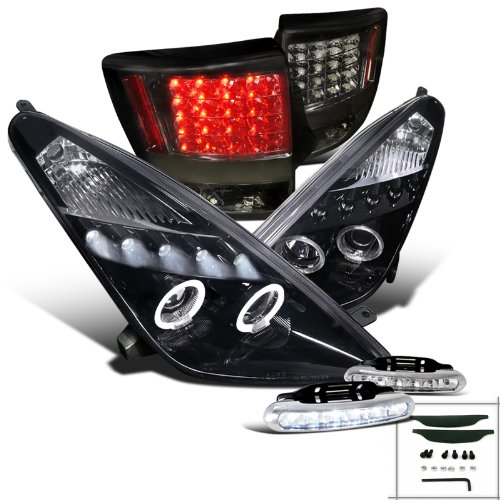 Glossy Black Celica Halo Projector Headlights+Smoke Tail Lamps+Led Drl Fog (Celica Halo Headlights compare prices)