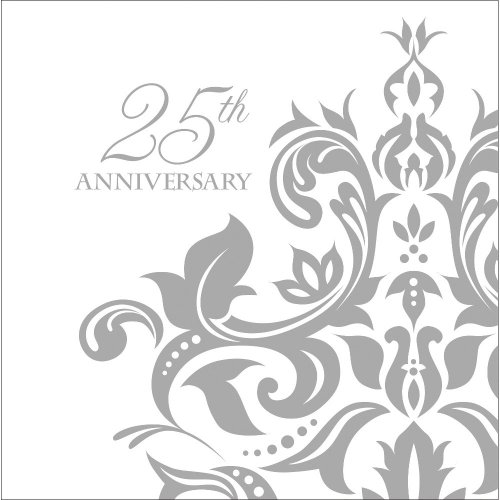 Creative Converting 36 Count 3 Ply 25th Anniversary Lunch Napkins, Silver