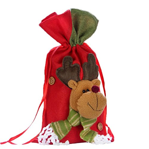 Ikevan 2017 Christmas Santa Snowman Elk Gifts Sack Bags Christmas Color Red Candy Stocking Filler- Christmas Day Decoration 37x20cm (A)