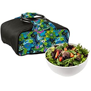 10 cup Chilled Serving Bowl with Insulated Travel Bag- Wild Paisley by Fit & Fresh