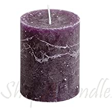 Elegant Rustic Purple Marble Fnish Pillar Candle 2.1/2 Inch Thick X 3 Inch High Unscented Set Of 1 By Light In...