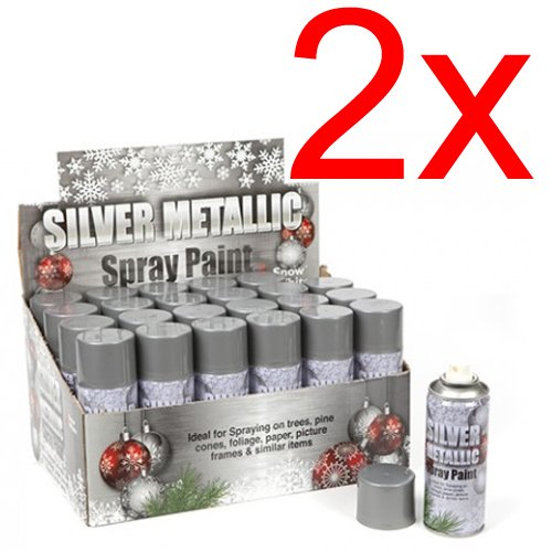 2-x-christmas-silver-metallic-spray-decoration-xmas-gift-interior-exterior-new