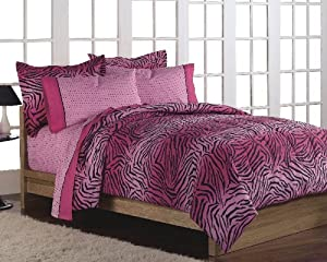 Girls Teen Hot Pink Zebra Print Comforter Bedding Set