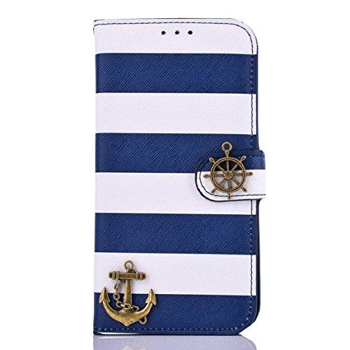 Culater® für Samsung Galaxy S6 G9200 Streifen Anker Rude Blau Flip Tasche Hülle Case Cover