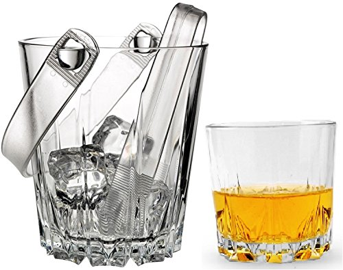 Circleware CG Karat ?HUGE? Set of 8 Glass Whiskey Set, Glass Ice Bucket with 6 Matching Double Old Fashioned Drinking Glasses, 10 Ounce, Clear Plastic Tongs Included (Plastic 10 Oz Jar compare prices)