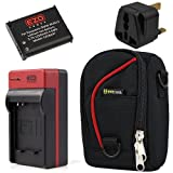 EZOPower BCM13E Battery + Travel Charger with EU / UK / Car Adapter + Compact Camera Case for Panasonic Lumix DMC-TZ60 / DMC-TZ55 / DMC-TZ40 / DMC-FT5 Digtal Camera