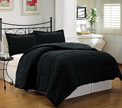 Cheapest Prices! Chezmoi Collection 3-piece Down Alternative Comforter Set, Queen/Full, Black