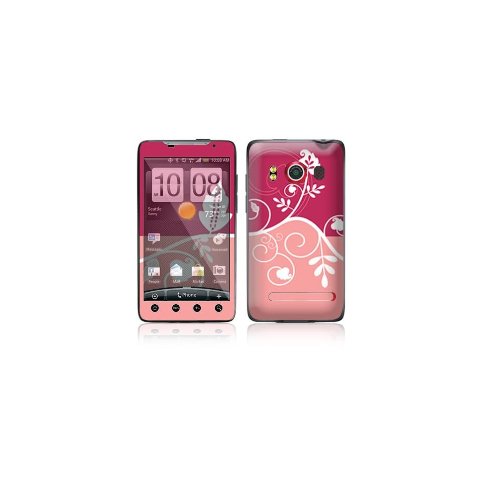 Pink Abstract Flower Protective Skin Cover Decal Sticker for HTC Evo 4G (Sprint) Cell Phone