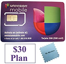 Univision Mobile Micro SIM Card with $30 Month Unlimited International Plan. Dual Cut Standard / Micro Univision 4G LTE SIM Card All in One Prefunded Preloaded Activation Kit($30 Monthly Plan)