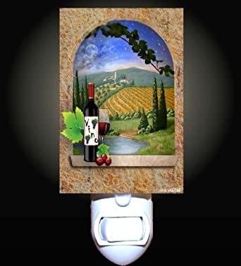 Red Wine in Tuscan Decorative Night Light - Grapes Night