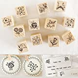 Shopline 12Pcs Vintage Flower Lace Wooden Rubber Stamp for Letters Diary Craft Scrapbooking
