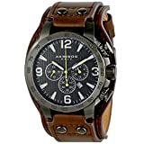 Akribos XXIV Men's AK727BKBR Conqueror Stainless Steel Watch with Leather Strap