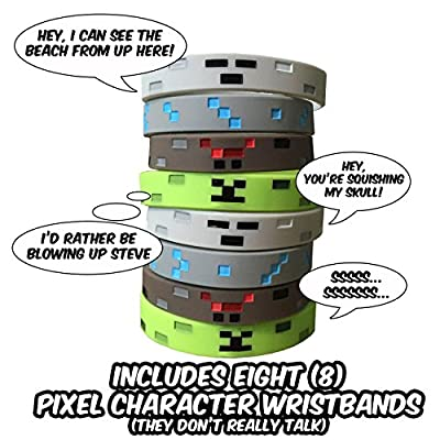 Pixel Style Miner Character Wristbands (8 Pack)- Pixel Style Video Game Designs - Spider, Creeper, Skeleton, Diamond - 2 of Each Style by Pixel Party Designs