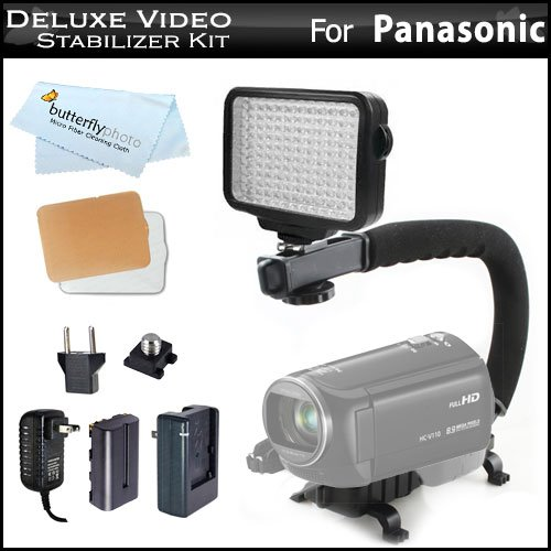 10-Piece Pro 120 Led Dimmable On-Camera Led Video Light Kit + Pro Camcorder Action Stabilizing Handle For Panasonic Hc-X900M, Hc-X900, Hc-X800, V700M, Hc-V700M, Hc-V500, V500M, Hc-V100, Hc-V100M, Hc-V10, Hc-X920, Hc-V720, Hc-V520, Hc-V110 Hd Camcorder